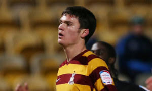 Curtis Good, on loan from Newcastle, in action for Bradford City against Brentford in the FA Cup