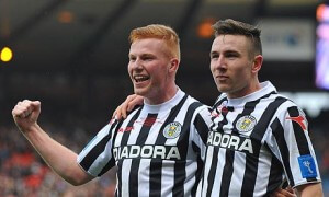 St Mirren's Conor Newton and Paul Dummett celebrate