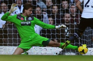 tim krul saves with left foot at spurs