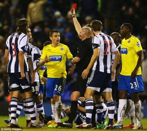 mathieu debuchy sent off west brom