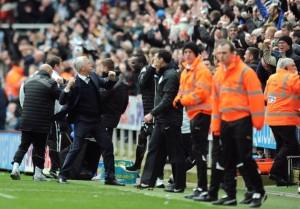 alan pardew celebrates goal villa