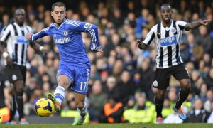 Chelsea goalscorer Eden Hazard against Newcastle United in the Premier League at Stamford Bridge
