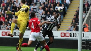 shola ameobi heads home first goal 18 mins