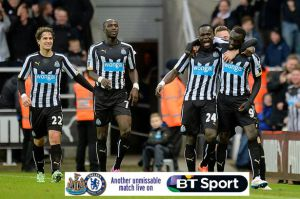 newcastle players after beating chelsea