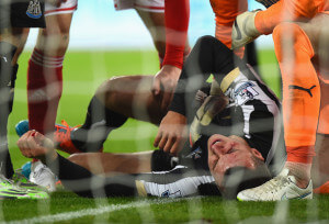 steven taylor after collifing with post sunderland 1-0