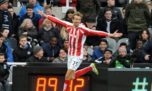 Peter Crouch of Stoke City celebrates scoring their first goal