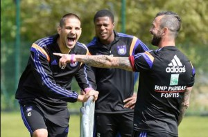 mitrovic and Mbemba in training