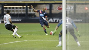 MILWAUKEE, WI - JULY 14: Yoan Gouffran #11 of the Newcastle United attempts a shot on goal during the first half against Club Atlas at Miller Park on July 14, 2015, in Milwaukee, Wisconsin. (Photo by Mike McGinnis/Getty Images)
