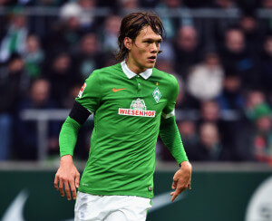BREMEN, GERMANY - FEBRUARY 01: Jannik Vestergaard of Bremen controles the ball during the Bundesliga match between SV Werder Bremen and Hertha BSC at Weserstadion on February 1, 2015 in Bremen, Germany.  (Photo by Stuart Franklin/Bongarts/Getty Images)