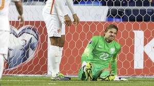 (L-R) Wesley Sneijder of Holland, Virgil van Dijk of Holland, goalkeeper Tim Krul of Holland during the EURO 2016 qualifying match between Kazachstan and The Netherlands on October 10, 2015 at the Astana Arena in Astana, Kazachstan.(Photo by VI Images via Getty Images)