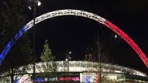 wembley stadium on Wedbnesday in french colors