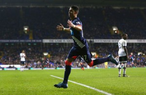ayoze perez after socring in stoppage time spurs 2-1