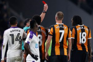 hull-citys-dieumerci-mbokani-is-shown-a-red-card-by-referee-neil-swarbrick